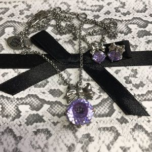 JC purple necklace and matching earrings set